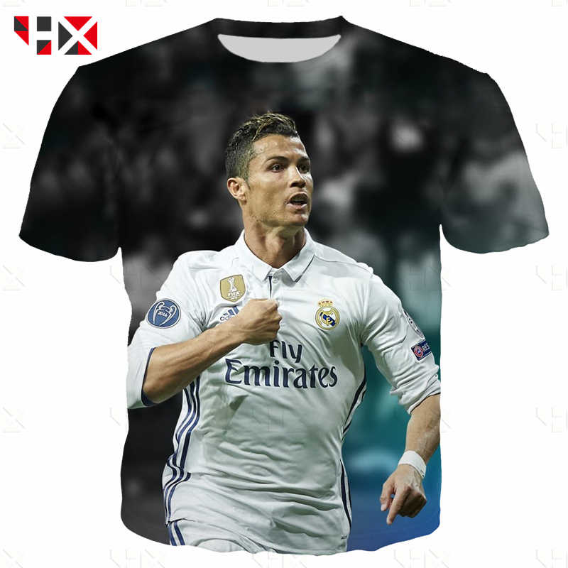reputable site a33c0 71fa4 HX New Cristiano Ronaldo 3D Print T Shirt/Sweatshirt/Hoodie Unisex King Of  The Champions League Casual Style Hot Sale Tops A20