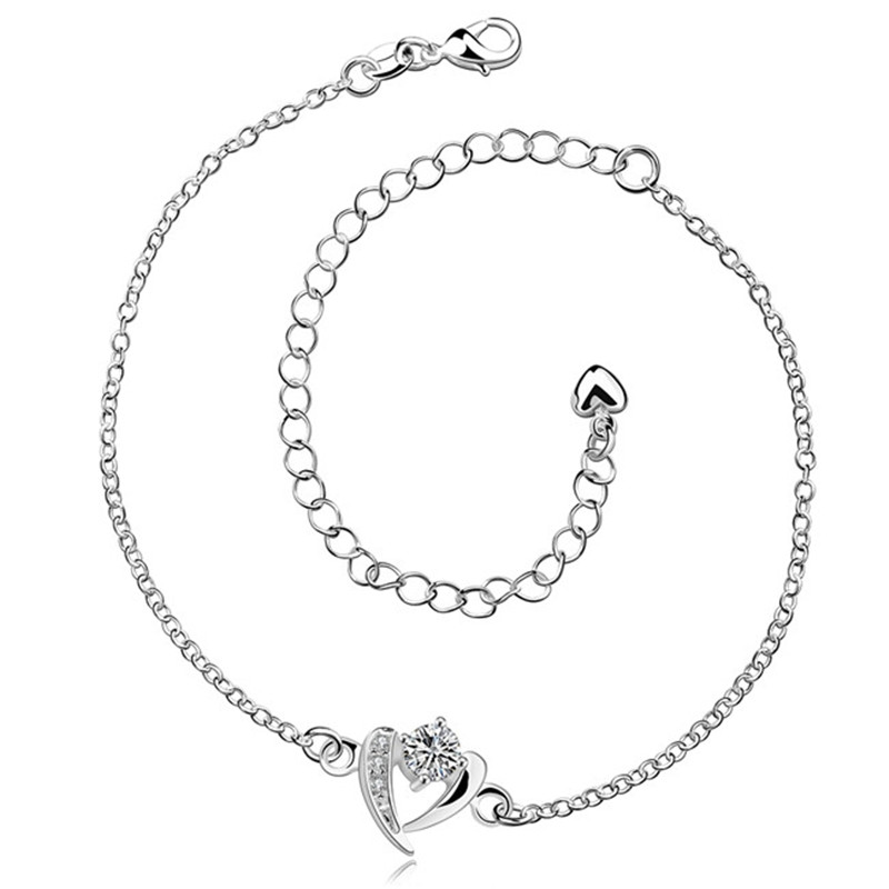 Hot silver anklet with zircon top quality simple wild style classic charm jewelry for women
