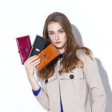 цена Vintage Luxury Wallet Female Genuine Leather Women Leather Purse Long Wallet Ladies hasp Card Holder Coin Small Purses For Girls в интернет-магазинах