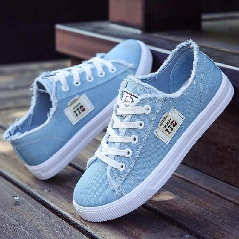 4d5a5cad4 Women flats classic spring/autumn fashion denim women's shoes round toe  canvas shoes designer sneakers