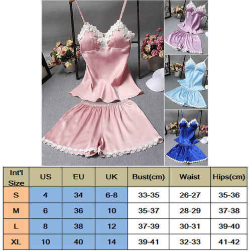 ... 2PCS Women Sexy Lingerie Sleepwear Set Satin Babydoll Lace Robes Sleep  Pajamas Set Shorts Sleeveless Shirts ... 41f43bdd9