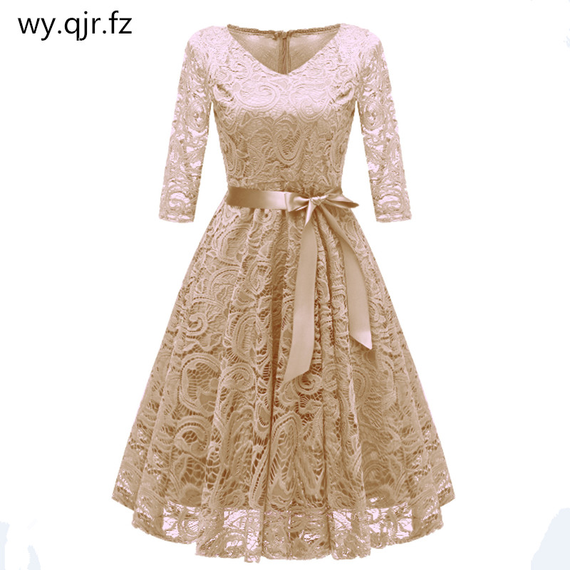 CD1592X#Beige V-neck Bow Lace Short Evening Dresses Classmate party dress prom bridal gown cheap wholesale women's clothing