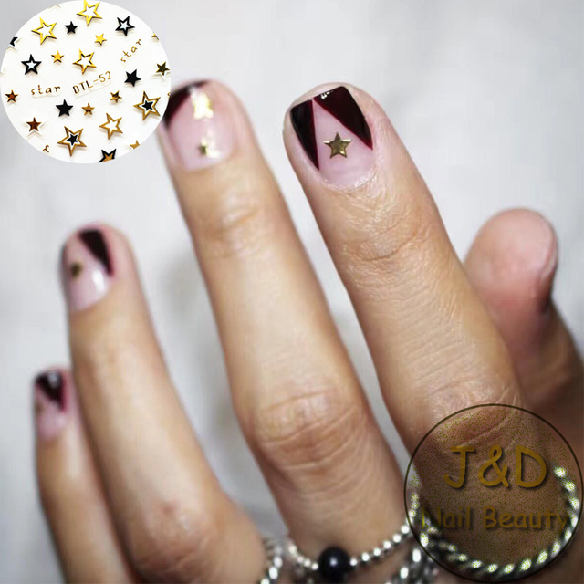 5pcs Golden Silvery Black Logo Star Nail Art Sticker Hollow Flake Decals  Rock and Roll Decoration French Manicure No.52 - 5pcs Golden Silvery Black Logo Star Nail Art Sticker Hollow Flake