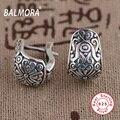 BALMORA New Retro Elegante Jóias 100% Real Pura 925 Jóias de Prata Esterlina Brincos Clipe para As Mulheres Presentes Do Partido Bijoux SY31175