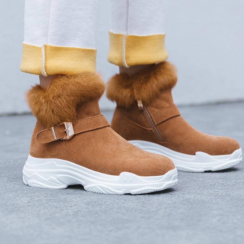 Qualité Cheville Vache Peluche Bottes Femmes rose Daim Sneakers marron Noir Chaussures Top Femme Gros 2018 En Hiver Karinluna Neige Chaud Russie vfYbgy76