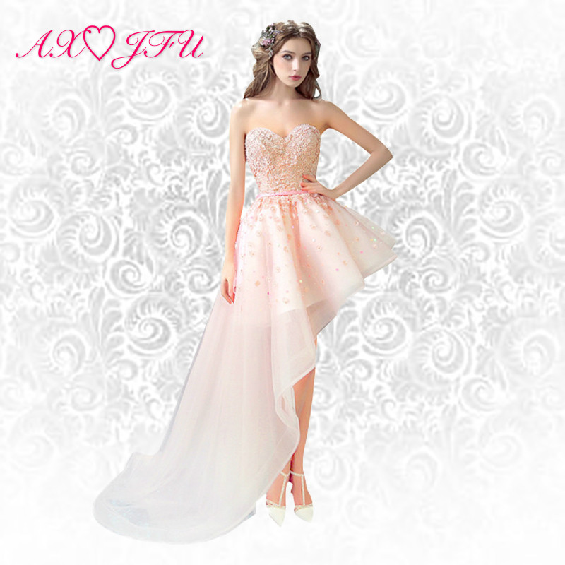4d2e0242ec7d AXJFU ροζ δαντέλα σύντομη πολύ πριν από το φόρεμα της νύφης φρυγανιά φόρεμα  φόρεμα της Πρωτοχρονιάς βραδινό.