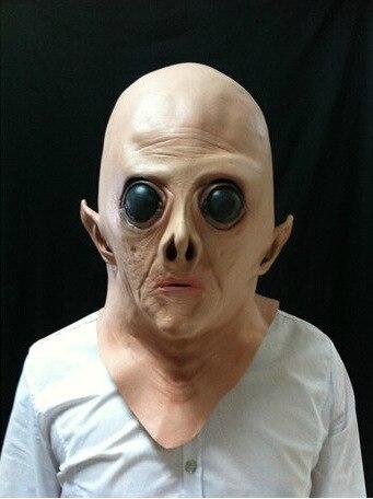 latex scary mask costume halloween creepy ufo sci fi movie theme mask headgear full head - Halloween Scary Faces