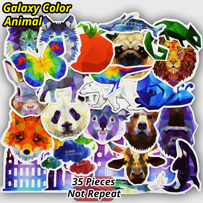 New 35 PCS Galaxy Color Animal Stickers for Laptop Skateboard Luggage Bike Car Styling Home Decor Decal PVC Cool Fashion Sticker