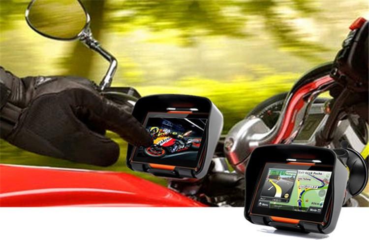 Hot sale 4.3 Inch 8GB 128256 RAM IPX7 Waterproof Moto Bluetooth GPS Navigator for Motorcycle Motorbike Car+Bracket Free Maps (1)