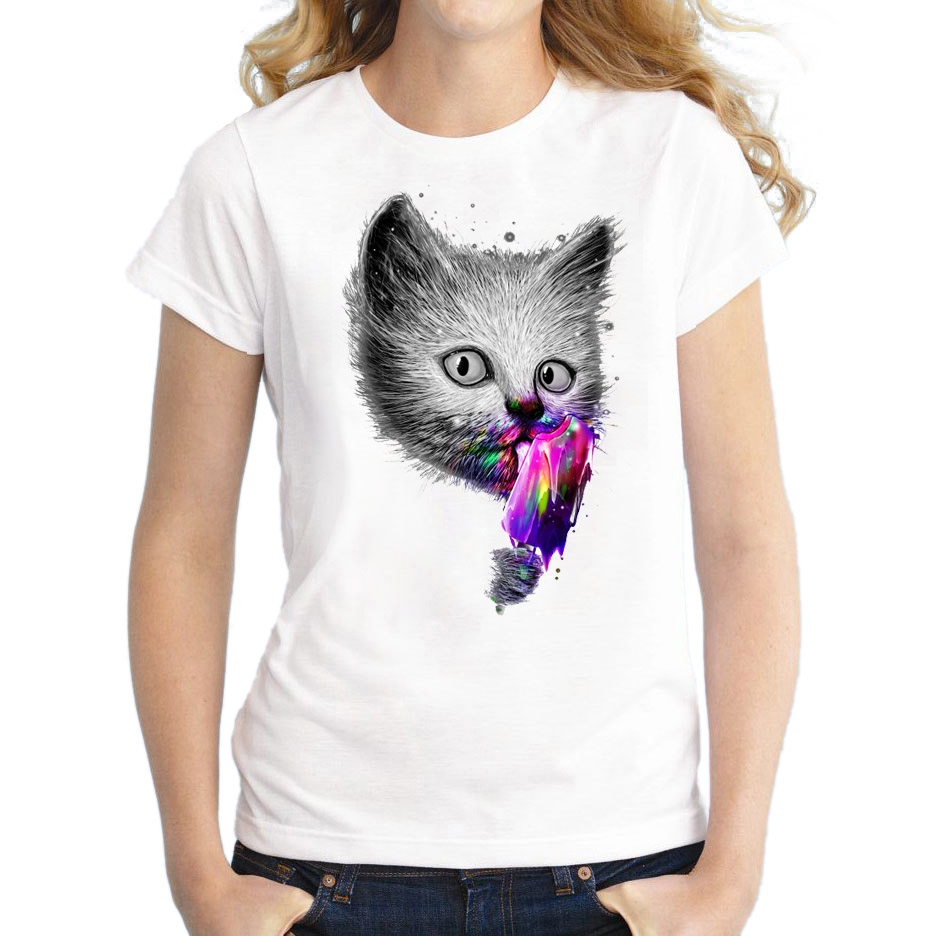 Colorful time 1984  Hot sale summer Slurp Cat  licking ice cream t shirt women lovely  shirt Good quality comfortable brand casual tops