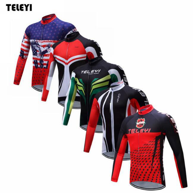 TELEYI Pro Team Riding Bike Ropa Ciclismo Mens Cycling Long Sleeve Jersey Tops Bicycle Jackets Clothing S-4XL