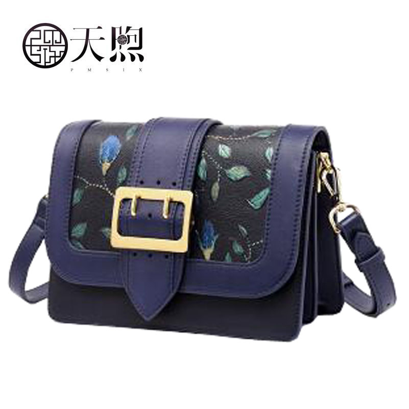 Genuine Leather women bag Chinese wind embossed shoulder bag Cowhide messenger bag Commuter small square package