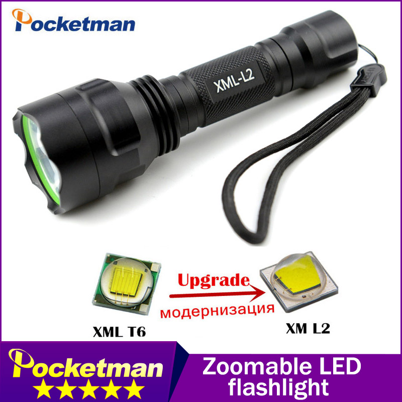 C8 xm-l2 led flashlight LED 4000LM Torch Night Hiking Camping Fishing Rechargeable Waterproof flash light ...