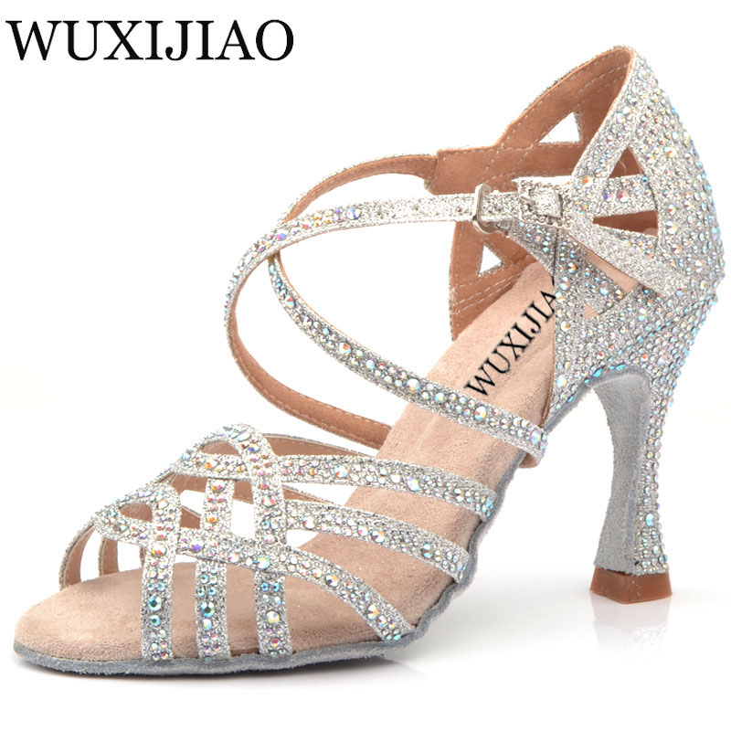 WUXIJIAO Silver Blue Rhinestone Latin Dance Shoes Women Salas Ballroom Shoes Pearl High Heel 9cm Waltz Software Shoes Hot Sale