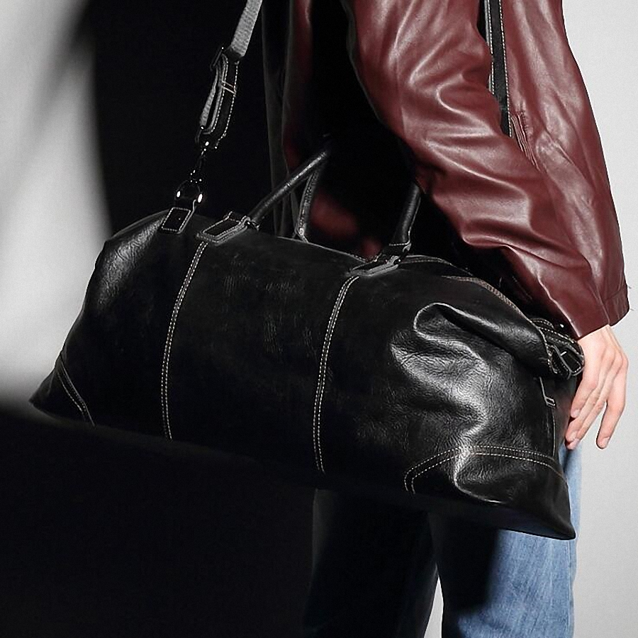 Fashion Genuine Leather Travel Bag Men's Leather Luggage Travel Bag Duffle Bag Large Tote Weekend Overnight Bag LI 1926 - 4