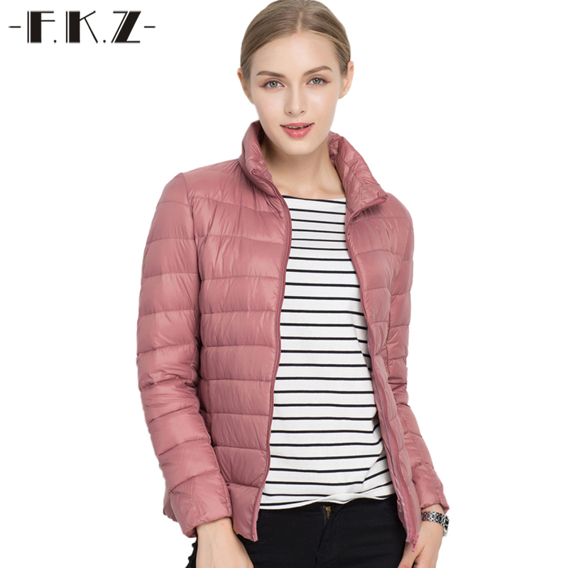FKZ Plus Size Winter Down Coats Women Thin Outerwear White Duck Stand Collar Casual 4XL 5XL 6XL Parkas Solid Jacket SKC0202-1