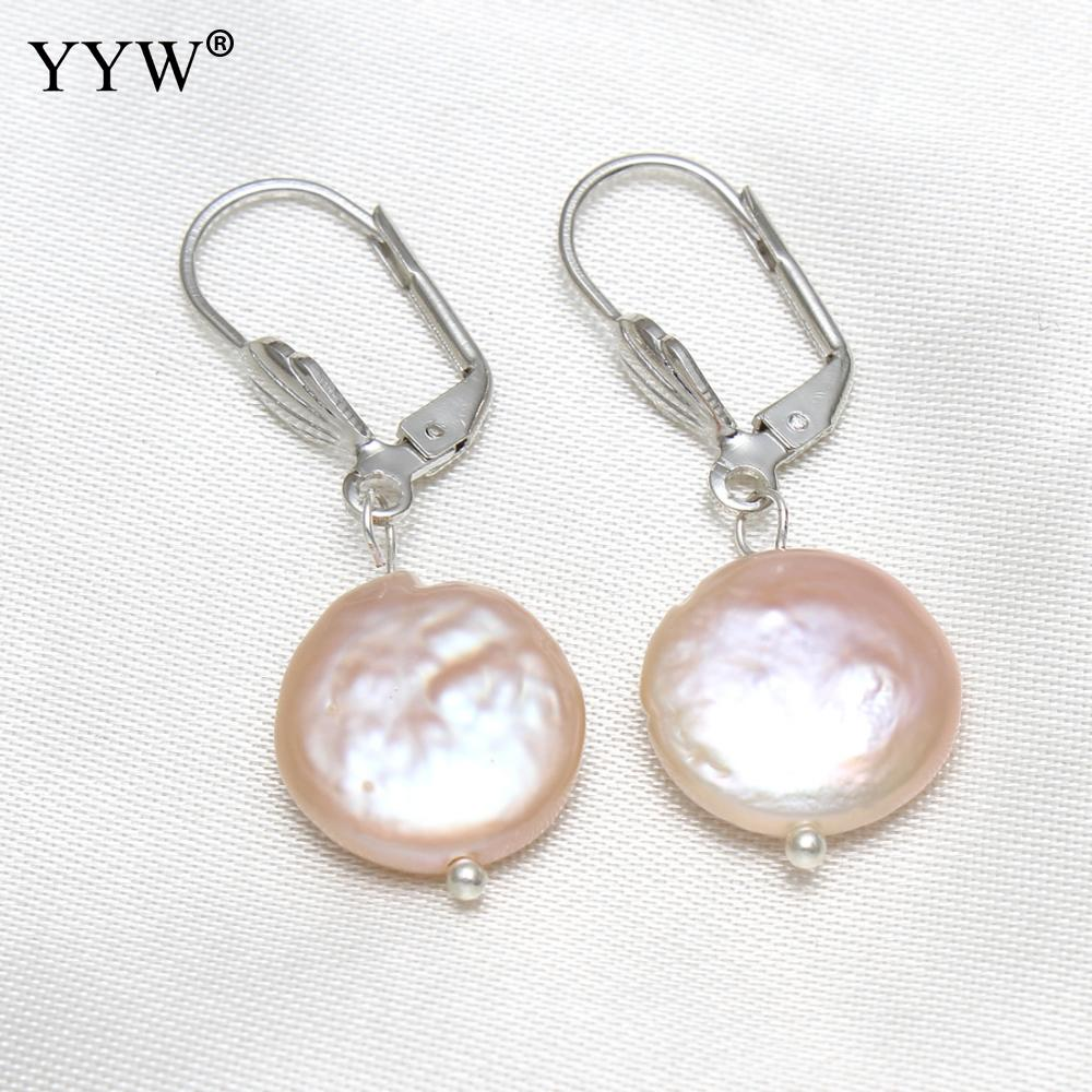 Freshwater Pearl Lever Back Earring Natural Color Light