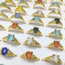 100pcs Wholesale Lots Bulk Fashion Gold Color Band Mixed Colorful Cat Eye Opal Stone Rings Jewelry Women Girl