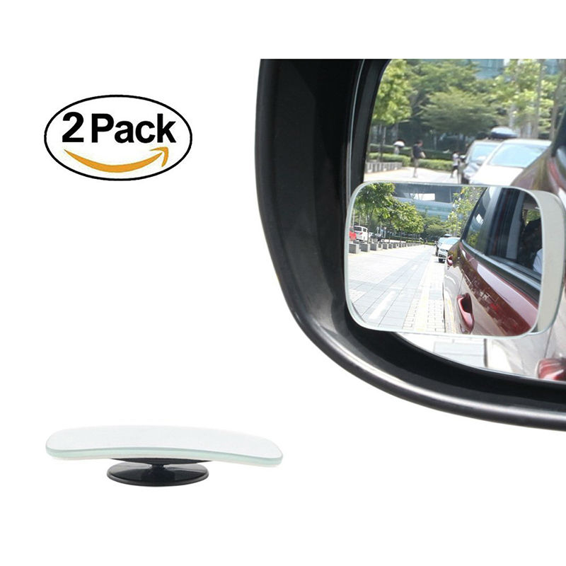 adjustable car blind spot mirror  degree rectangle glass convex wide angle rear view mirror