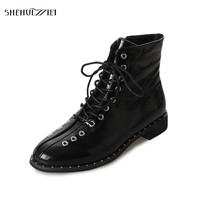 SHEHUIMEI Woman Lace Up Martens Boots Plus Size 35 43 Russian Ladies Winter Plush Ankle Motorcycle