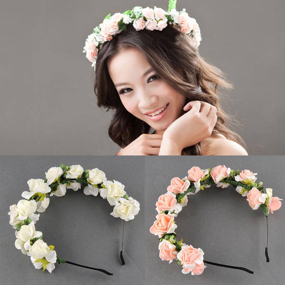 New Charming Pinkwhite Crown Boho Hairband Bohemia Elegant Wedding
