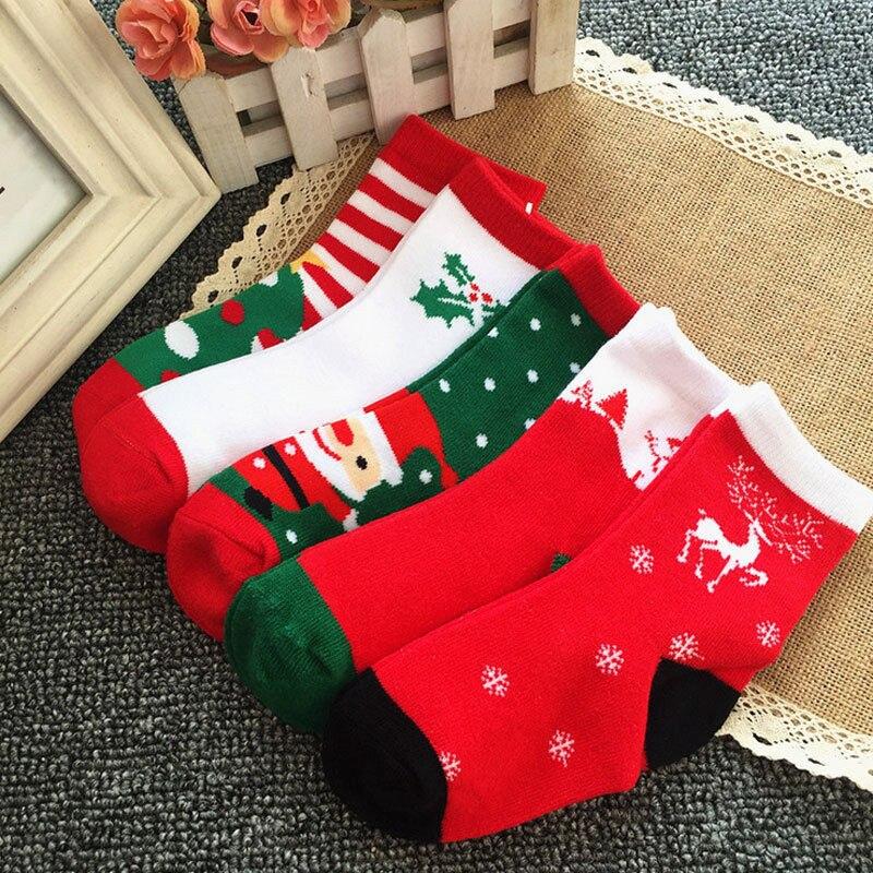 Boys Christmas Socks.Us 5 53 16 Off 6 Pairs Of Christmas Socks For Boys Girls Children Boy Girl Cartoon Cotton Socks Infant Newborn Toddler Kids Xmas Soft Sock 1 6y In
