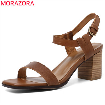 MORAZORA 2019 hot sale sandals women genuine leather shoes buckle square high heels sandals summer dress party shoes woman