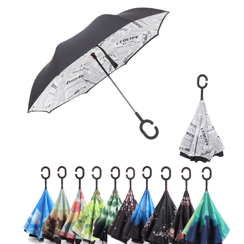 Double Layer Inverted Inverted Umbrella Is Light And Sturdy Cute Baby Tabby Kitten Looking Sitting Reverse Umbrella And Windproof Umbrella Edge Night