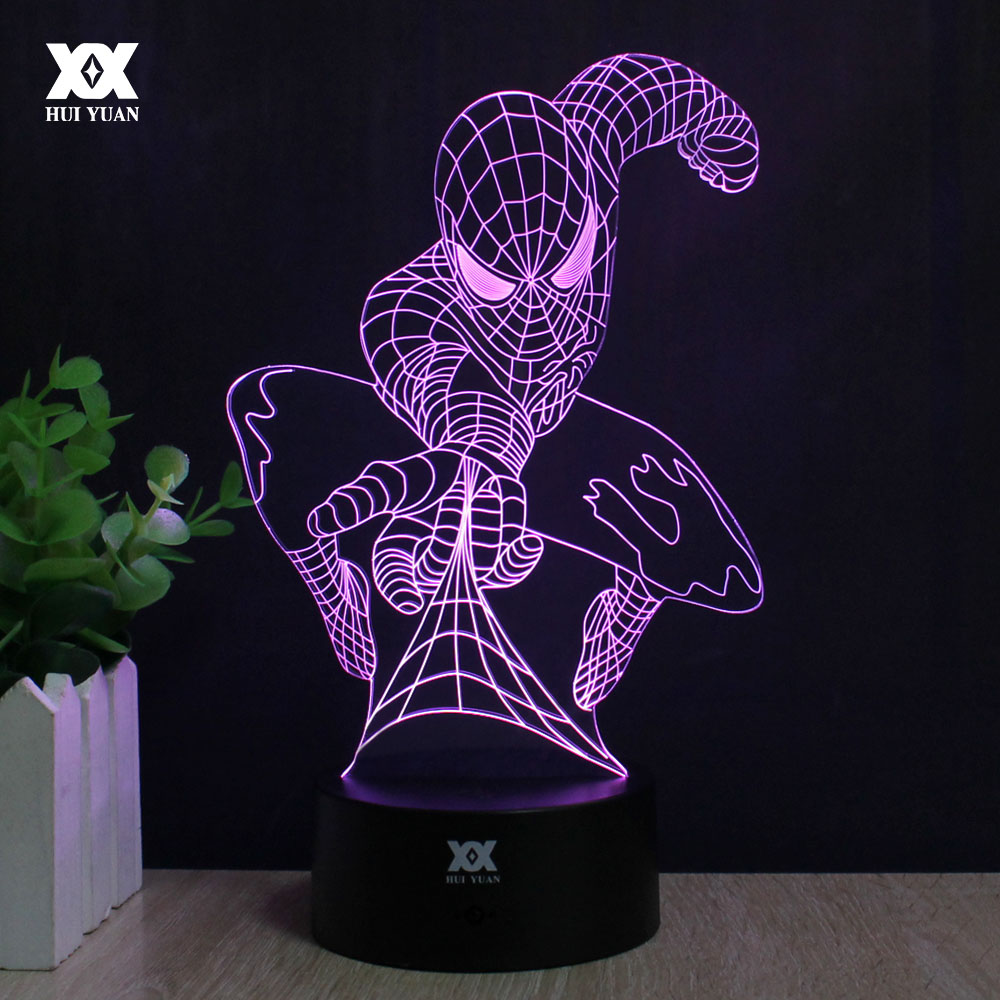 Spiderman 3D Lamp Captain America շարք Լամպ LED Նորույթ Գիշերային լույսեր USB տոնական թեթև փայլուն ամանորյա նվեր HUI YUAN ապրանքանիշ