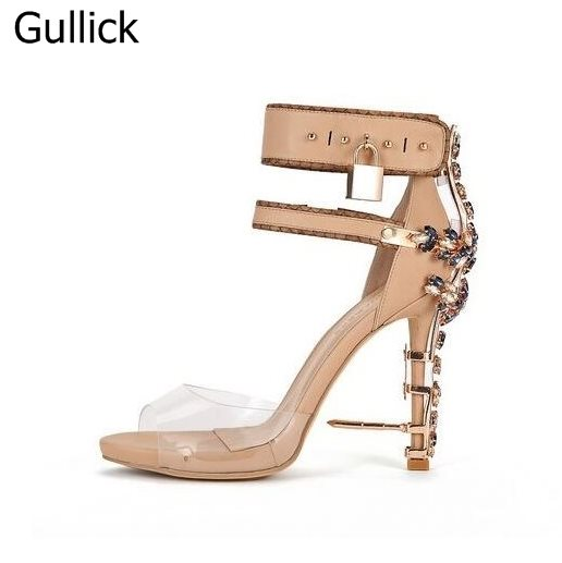 1258f08e4cc075 Luxury Brand Women Lavender Ankle Strap Sandal Metal Heel Crystal Ankle  Lock Sandals Strange Heel Crystal Embellished Shoes-in High Heels from Shoes  on ...
