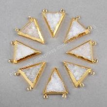 New Fashion! 10pcs/lot Gold Plated Triangle Natural Agate Druzy Connector G0573