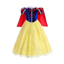 Girl Snow Queen Dress Princess Girls Snow Costume With Cloak Kids Children Clothing Carnevale Fancy Party Dress 3-10 Years 2018 kids girl princess snow white cosplay costume dress children girl party dress with oversleeves cloak wg187