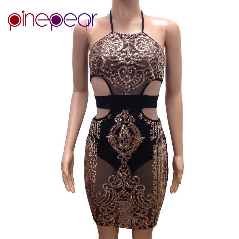 ... PinePear 2019 Summer Women Fashion Sleeveless Sequins Dress Halter Sexy  Mesh See Through Clubwear Black Gold ... d7de8c56dce0