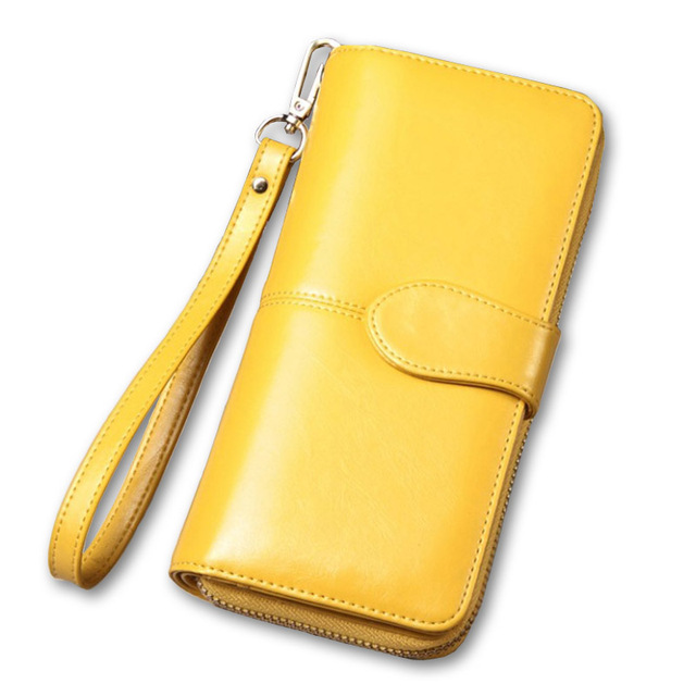 Top Quality Yellow Women Leather Wallet_Female Purse Long Big Capacity Card Holders Purse Wallet