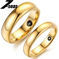 Luxury Gold Plated Energy Tungsten Carbide Couple Promise Engagement Rings His & Her Wedding Ring Men size7-11size/Women size5-8