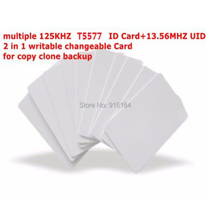 Image 1 - Dual Chip Frequency RFID 13.56Mhz 1K UID and T5577 125 kHz ID blank card Readable Writable Rewrite for copy clone backup copier