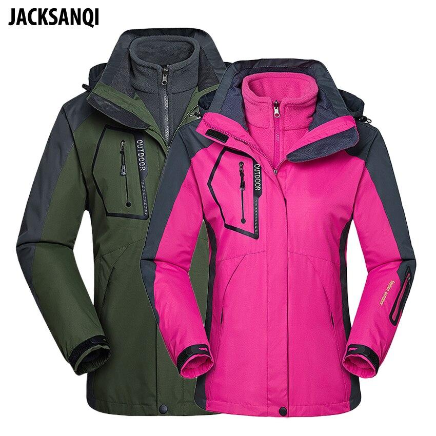 JACKSANQI hommes femmes polaire 2 en 1 vestes hiver randonnée manteaux Camping Trekking Sport hommes coupe-vent imperméable veste de Ski RA157