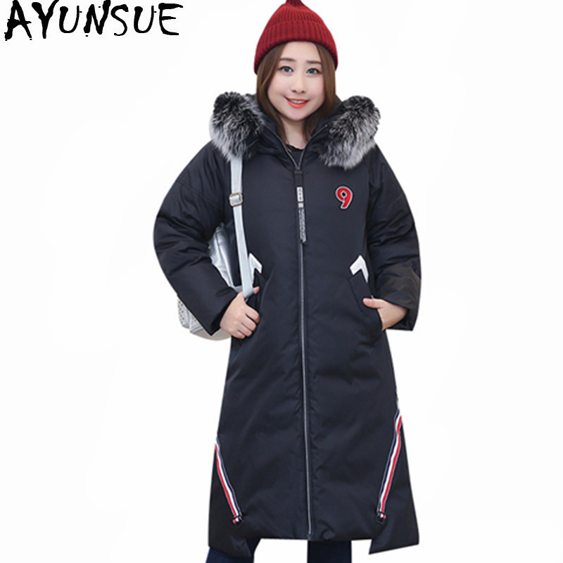 Ayunsue Womens White Duck Down Jacket 2019 Thick Winter -9836