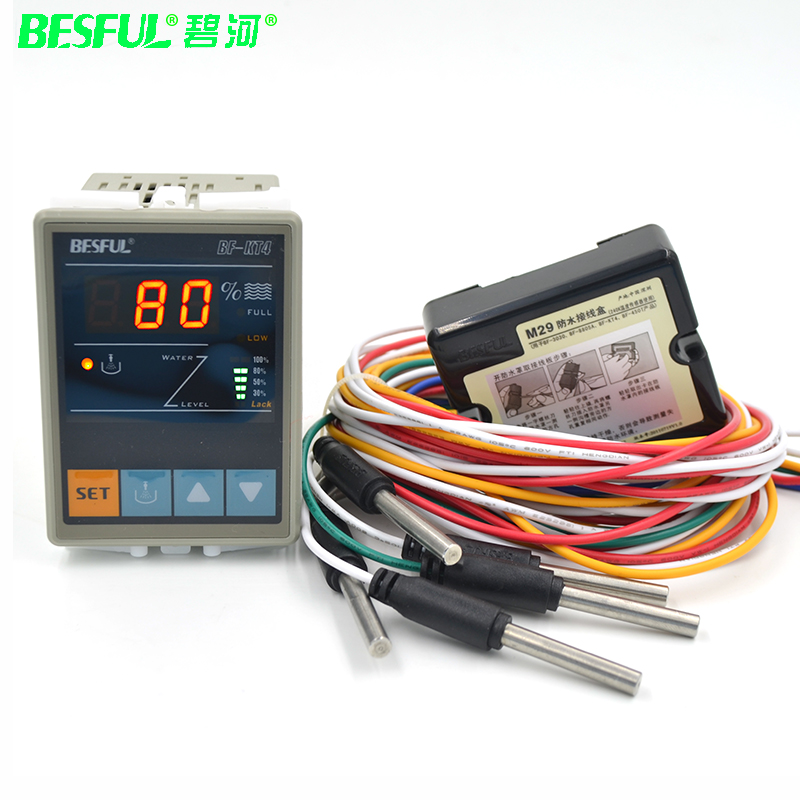 Intelligent digital display liquid level switch full-automatic 220V water tank water showed BF-KT4 for water level detectors цена