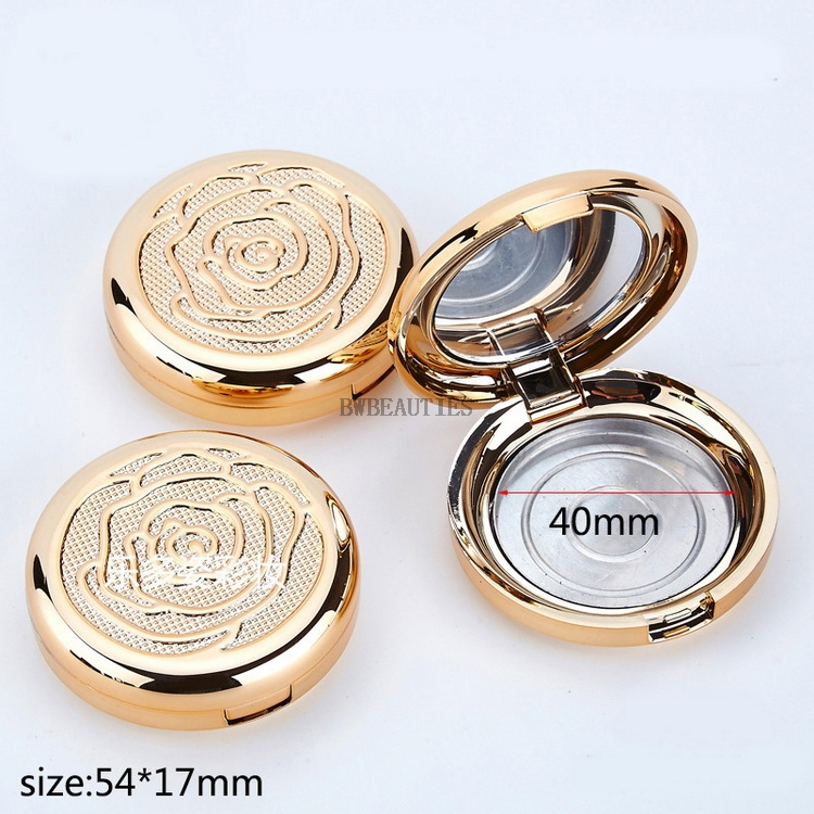 100Psc/Lot Gold Empty Cosmetic Eyeshadow Case with Aluminum Pan mirror Makeup Powder Puff Compact Container Blush Box