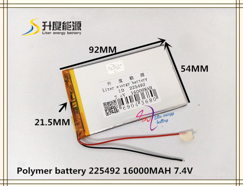 7.4V 16000mAH 225492 polymer lithium ion / Li-ion battery for tablet pc GPS e-book speaker POWER BANK lson z 8808 universe pattern dual usb 5v 8800mah li ion polymer battery power bank multicolored