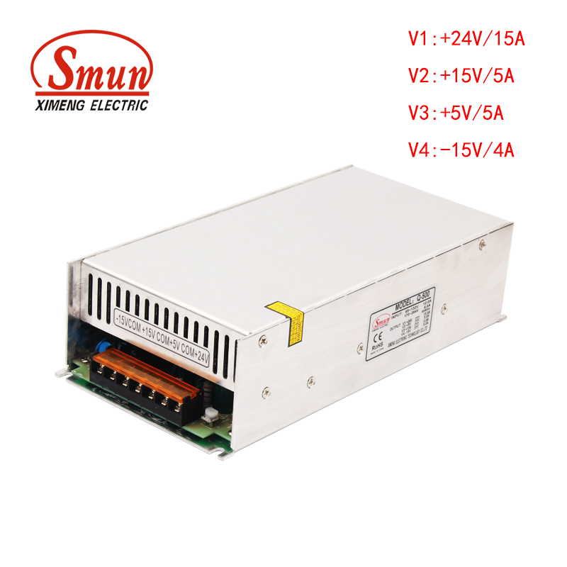 SMUN New Arrival Q-500 Quad Power Supply +24V 15A/+15V 5A/+5V 5A/-15V 5A For Laser Marking MachineSMUN New Arrival Q-500 Quad Power Supply +24V 15A/+15V 5A/+5V 5A/-15V 5A For Laser Marking Machine