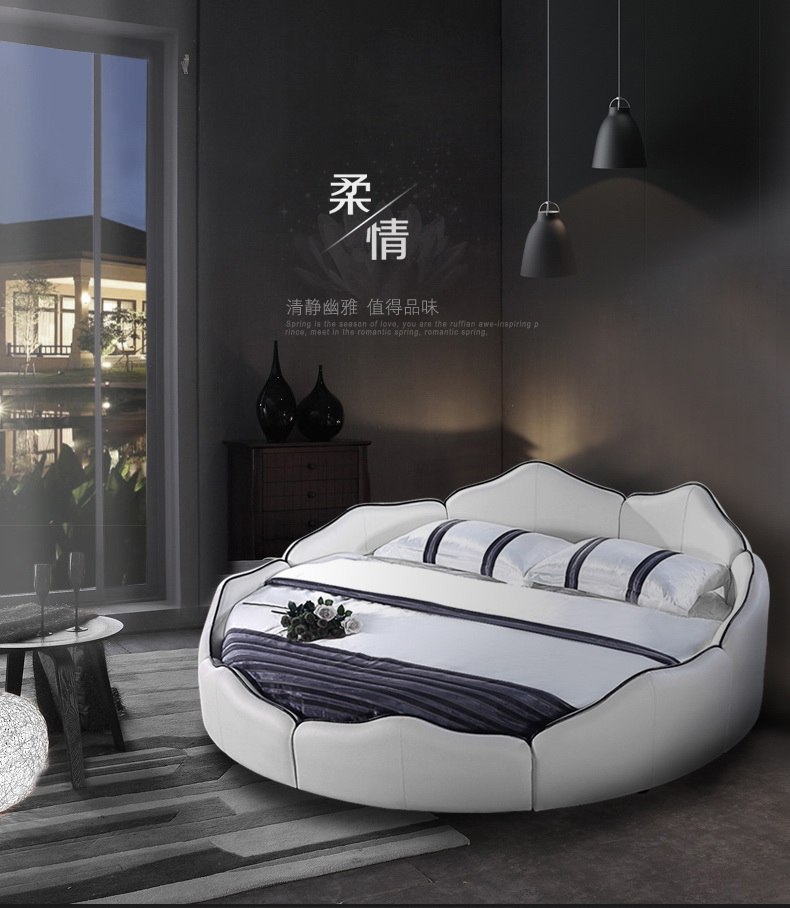 Real Genuine Cow Leather Bed Soft Beds Bedroom Camas Lit Round Bed Muebles De Dormitorio Yatak Mobilya Quarto Unique Designer