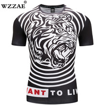 2018 Mens Workout Clothes Short Sleeve Compression Shirt 3D Full Printing MMA
