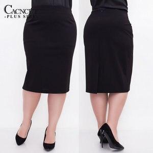 Image 3 - Cacncut tamanho grande cintura alta bolsa coxa saia negócios casual saia para as mulheres 2019 plus size bodycon lápis escritório saia preto 6xl