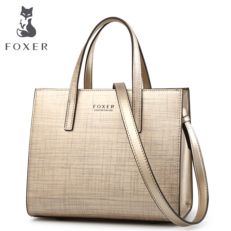 FOXER Brand Women's Cowhide Leather Handbags Shoulder bags New Design Fashion Female Shoulder bag all-match Women's Bag foxer shoulder