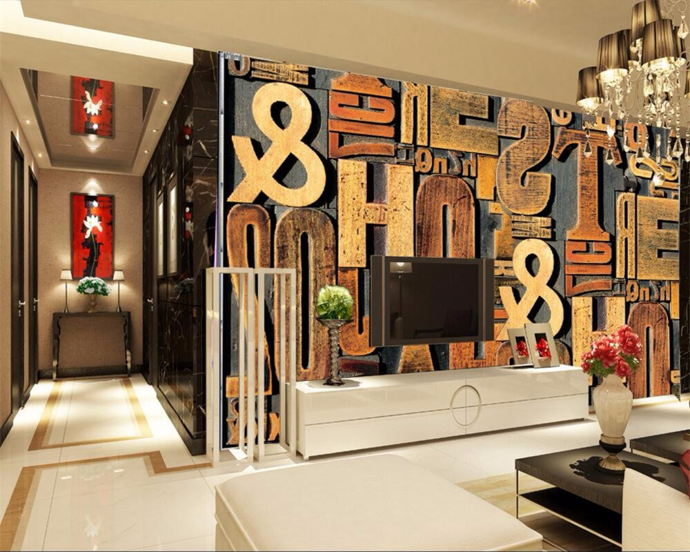 Beibehang Benutzerdefinierte 3d Tapeten Wohnzimmer Tv Hintergrund Holzschnitzerei Brief Englisch Fototapete Muralchina