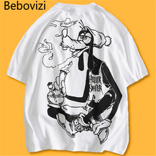 Bebovizi Men Hip Hop Cartoon Smokes T Shirt Streetwear T-Shirts Harajuku Tshirt 2019 Summer Loose Short Sleeve Tops Tees все цены