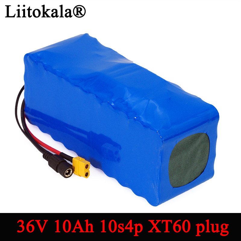 LiitoKala 36V 10S4P 10Ah 500 W high power and capacity 42 V 18650 lithium battery ebike Electric car bike motor scooter with BMS