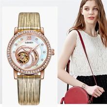 OUBAOER Gold Skeleton Automatic Watches Women Fashion Bracelet Wrist Watch Ladies Luxury Genuine Leather Mechanical Watch Clock